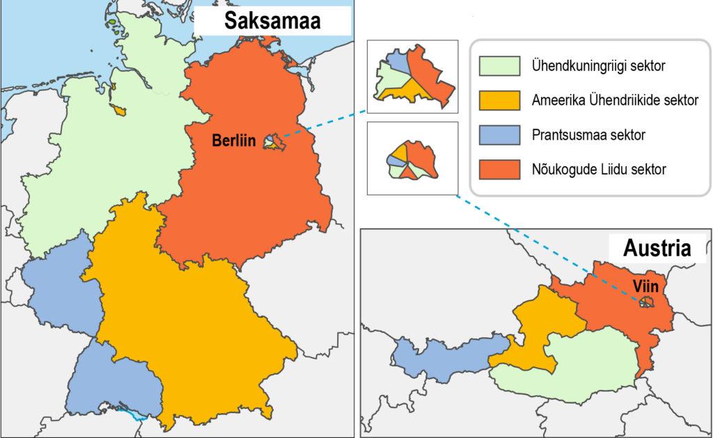 Liitlaste okupatsioonitsoonid Saksamaal ja Austrias (õpik lk 38)