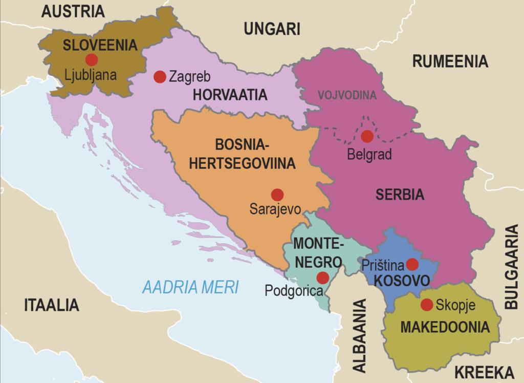 Jugoslaavia lagunemisel tekkinud riigid (õpik lk 220)