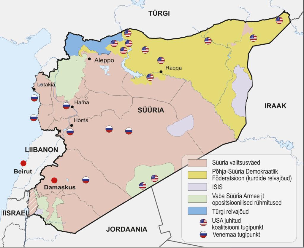 Süüria kodusõja vaenupooled 2018. a (õpik lk 269)